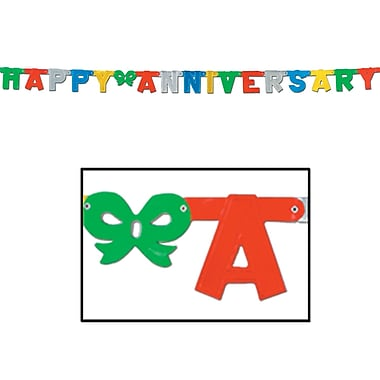 Multi-Colour Foil Happy Anniversary Streamer, 4-1/4