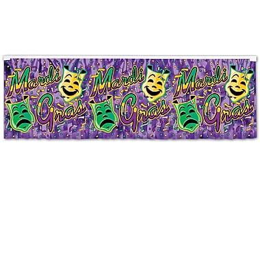 Bannière à frange métallique « Mardi Gras », 14 po x 4 pi, paq./4