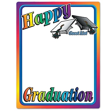Tableau blanc « Happy Graduation » 23 x 18 po, paquet de 5