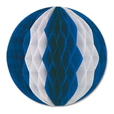Boule en papier nid d'abeille bleu et blanc, 19 po, paq./2