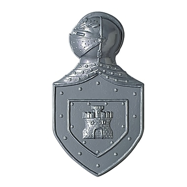 Emblème de chevalier en plastique, 22 po, argenté, 3/paquet