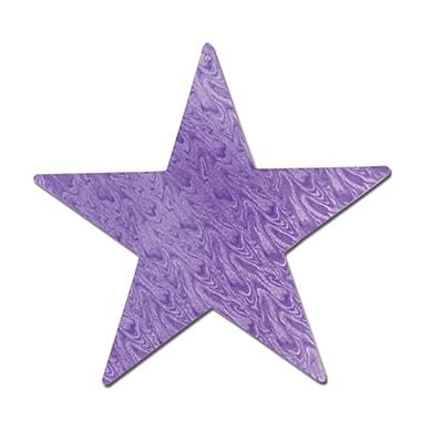 Découpe étoile en feuille d'aluminium gaufrée violette, 5 po, paquet de 22