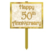 "Beistle 12"" x 15"" 50th Anniversary Yard Sign, Gold, 3/Pack"