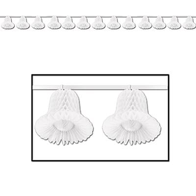 Beistle 24' Tissue Bell Streamer, White, 2/Pack