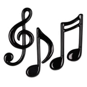 """Molded Plastic Musical Notes, 4-1/4"""" - 5-1/2"""", Black, 12/Pack"""