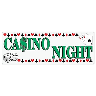 Casino Night Sign Banner, 5' x 21