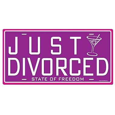 Just Divorced License Plate Cutout, 6-1/4