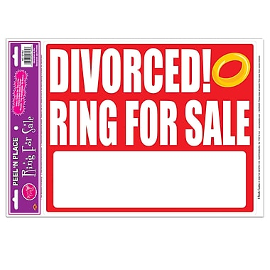 « Divorced! Ring For Sale » Peel 'N Place, 12 x 17 po, paquet de 3