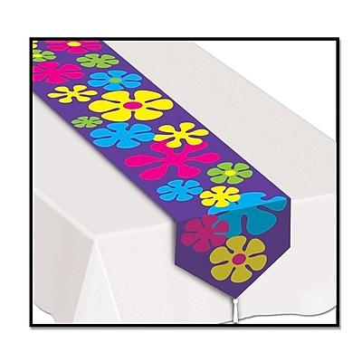 Beistle Printed Retro Flowers Table Runner, 11