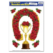 """Beistle 12"""" x 17"""" Horseshoe With Roses Peel 'N Place Sticker, 18/Pack"""
