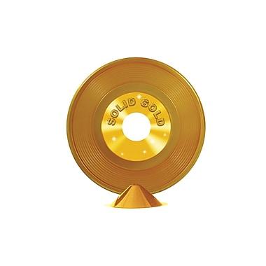 Centre de table disque vinyle en plastique, 9 po, doré, 4/paquet