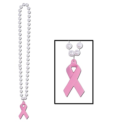 Beistle Beads Necklace With Pink Ribbon Medallion; 40