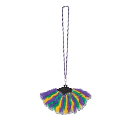 Beistle Beads Necklace With Mardi Gras Feather Fan, 46