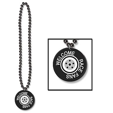 Collier de perles avec médaillon « Welcome Race Fans », 33 po, 6/paquet