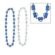 "Beistle Oktoberfest Mug Beads Necklace, 33"", Blue/Silver"
