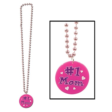 Beistle Beads Necklace With Printed #1 Mom Medallion, 33
