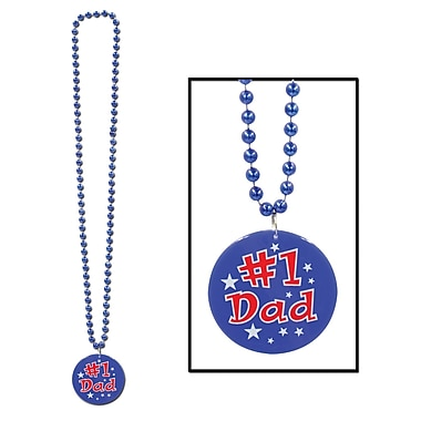 Beistle Beads Necklace With Printed #1 Dad Medallion, 33