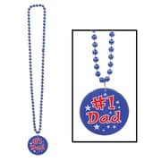 Beistle Beads Necklace With Printed #1 Dad Medallion, 33""