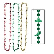 "Beistle Fiesta Beads Necklace, 33"", Red/Gold/Green"