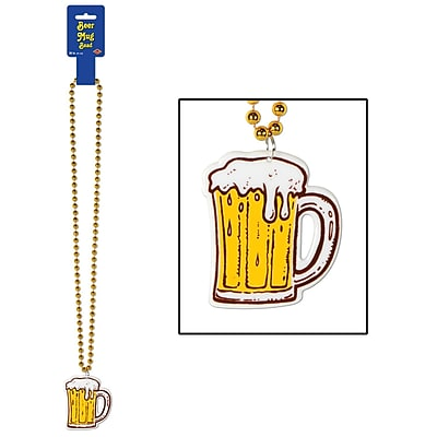 Beistle Beads Necklace With Beer Mug Medallion, 36