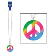 "Beistle 36"" Beads Necklace With Tie-Dyed Peace Sign Medallion"