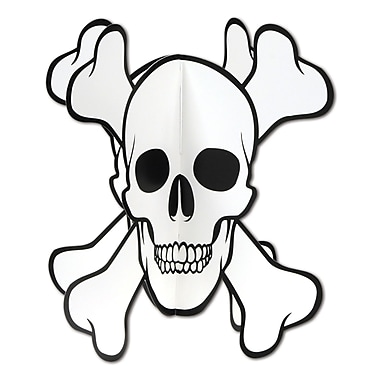 Centre de table 3 dimensions crâne et os en croix, 10 po, 5/paquet