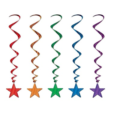 Star Whirls, 3', Assorted Colours, 15/Pack