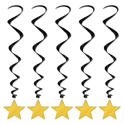 Beistle 3' Star Whirls, Black/Gold, 15/Pack