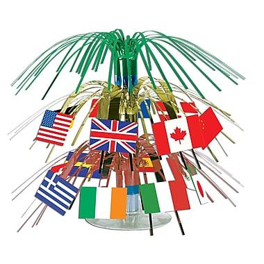 Mini centre de table en cascade drapeaux internationaux, 7 1/2 po, 4/paquet