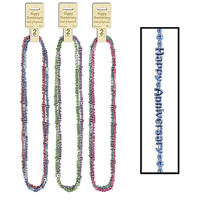 """""""""""Beistle Happy Anniversary Beads Of Expression Necklace, 36"""""""""""""""", Assorted"""""""""""" 1068933"""