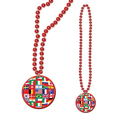 Beistle Beads Necklace With International Flag Medallion, 33