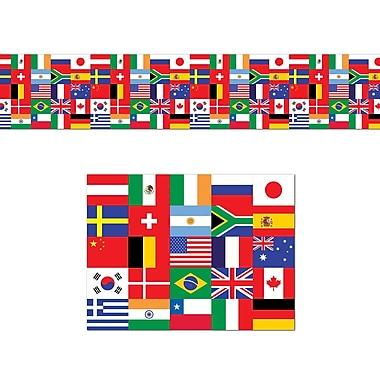 Matériau de décoration drapeaux internationaux en poly, 18 po x 25 pi, 2/paquet