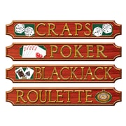 "Casino Sign Wall Plaques, 5"" x 31"", 4/Pack"