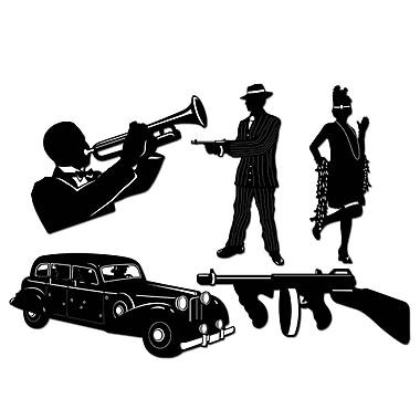 Silhouettes de gangster, 20 po, 10/paquet