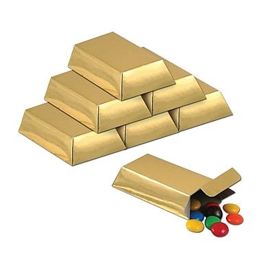 Boîtes de cadeau d'invité lingot en feuille de métal, 3 x 1 1/2 x 3/4 (po), doré, 36/paquet