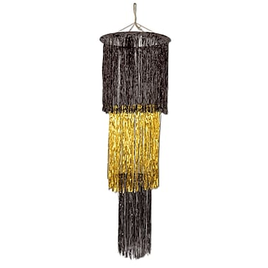 3-Tier Shimmering Chandelier, 4', Black/Gold