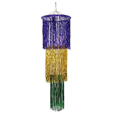 Beistle 4' 3-Tier Shimmer Chandelier, Green/Gold/Purple