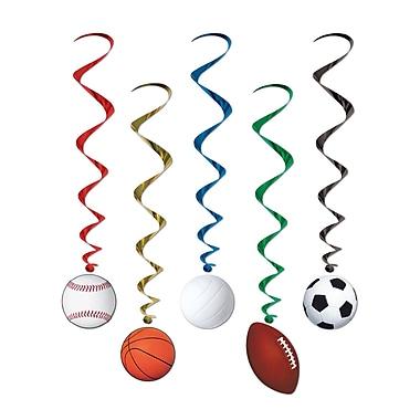 Guirlandes spirales sur le thème sport, 3 pi 4 po, paquet de 15