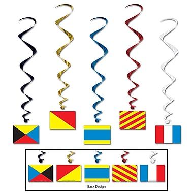 Tourbillons avec drapeaux de marin, 3 pi 4 po, 15/paquet