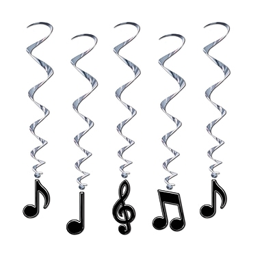 Musical Note Whirls, 3', Black, 15/Pack