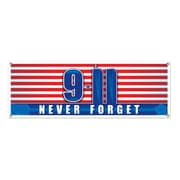 """Beistle 5' x 21"""" 9/11 Never Forget Sign Banner, 3/Pack"""