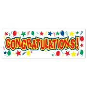 "Beistle 5' x 21"" Congratulations! Sign Banner, 3/Pack"