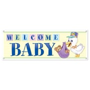 """Beistle 5' x 21"""" Welcome Baby Sign Banner, 3/Pack"""
