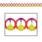 "Beistle Dip-Dyed Peace Sign Garland, 5 3/4"" x 12', 3/Pack"
