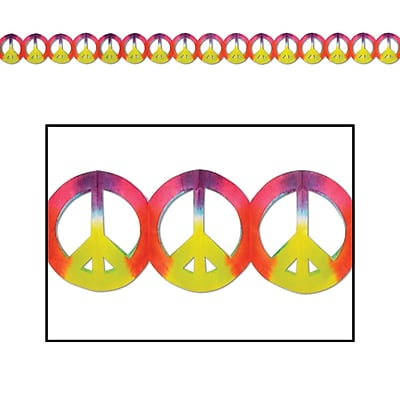 Beistle Dip-Dyed Peace Sign Garland, 5 3/4