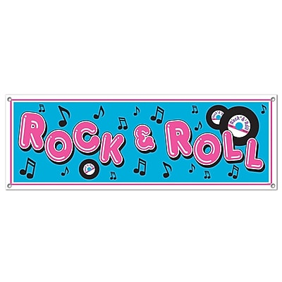 Beistle Rock and Roll Sign Banner, 5' x 21