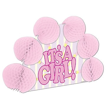 « It's A Girl! » rose Centre de table Pop-Over, 10 po, 4/paquet