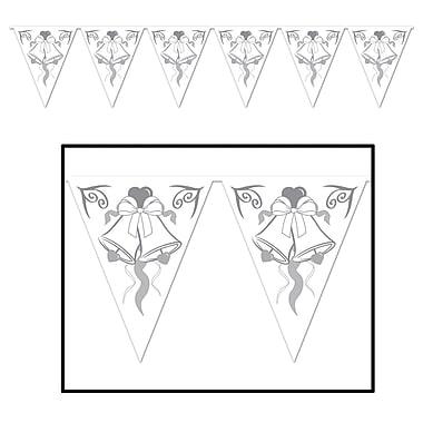 Bannière fanions cloches de mariage, 10 po x 12 pi, paquet de 4