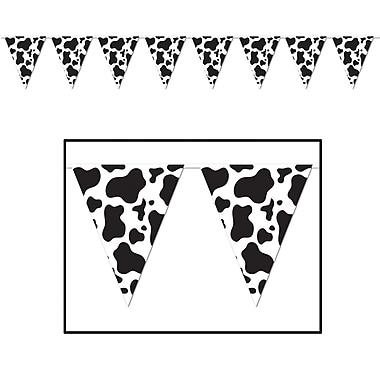 Bannière à fanions à imprimé de vache, 10 po x 12 pi, 4/paquet