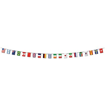 Banderole drapeaux internationaux, 12 po x 23 pi, grand, paquet de 3
